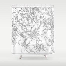 Large flowers pencil effect Shower Curtain