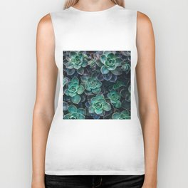 Succulent Blue Green Plants Biker Tank