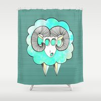 ram Shower Curtains featuring Am's ram by AmDuf