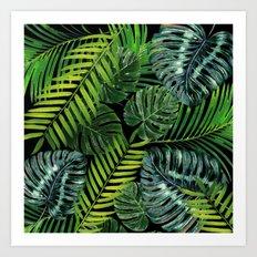 Jungle Tangle Green On Black Art Print