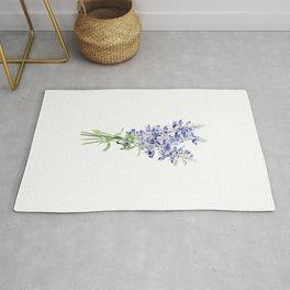 blue mealycup sage flowers bouquet watercolor   Rug
