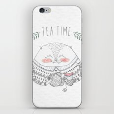 tea time cat iPhone & iPod Skin