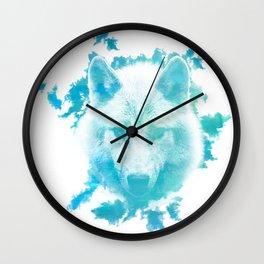 Blue Wolf Wall Clock