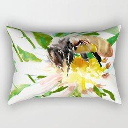 Bee and Flower, Honey Bee, chamomile herbal honey design Rectangular Pillow