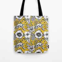 yellow pattern Tote Bags featuring Yellow by AITCH