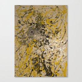 Aluminum, Yellow, Flat black DRIP Canvas Print