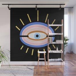 Retro evil eye - black & gold Wall Mural