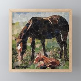 """"""" Mare And Foal Hole Punch """" Framed Mini Art Print"""