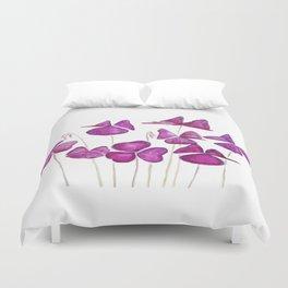 purple clover leaves Duvet Cover