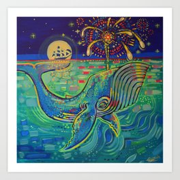 Whale with Fireworks Art Print