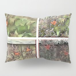 Window Frame Tiger Lily Collage Pillow Sham