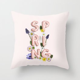 Rose Gold Spring Flower Blush Throw Pillow