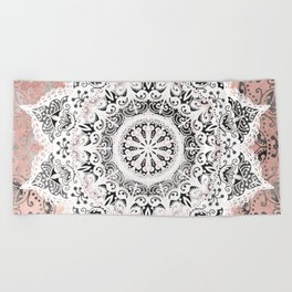Dreamer Mandala White On Rose Gold Beach Towel