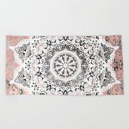 Dreamer Mandala White On Rose Gold Beach Towel