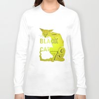 duvet cover Long Sleeve T-shirts featuring BLACK CAT DUVET COVER by aztosaha