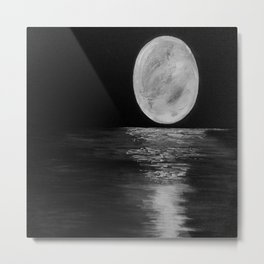 Full Moon, Moonlight Water, Moon at Night Painting by Jodi Tomer. Black and White Metal Print