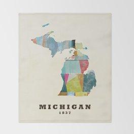 Michigan  state map modern Throw Blanket