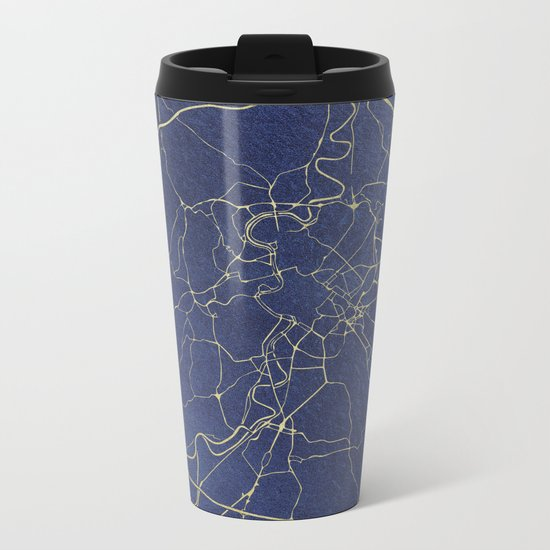 Rome Blue and Gold Street Map Metal Travel Mug