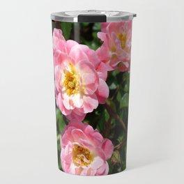 White and Pink Rose Travel Mug