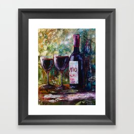 Aged Wine oil painting with palette knife Framed Art Print
