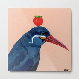 bird with tomato Metal Print