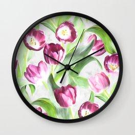 Bright Tulips on Soft Grey Wall Clock