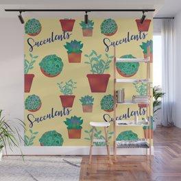 Succulent Pattern Wall Mural