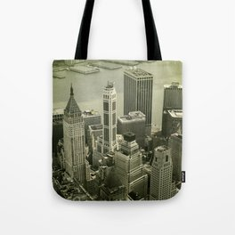 An old day in New York city. Skyline View of Financial District Tote Bag
