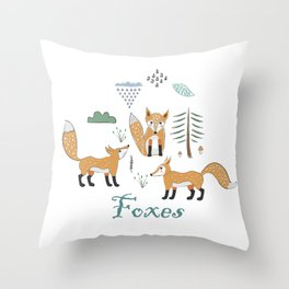 Cute Winter Icon with foxes. Hand Drawn Scandinavian Style. Throw Pillow