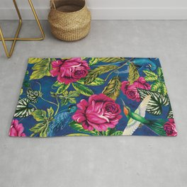 Parrots in the Jungle - Flowers and Birds on Blue Wall Decor Gift Idea Rug