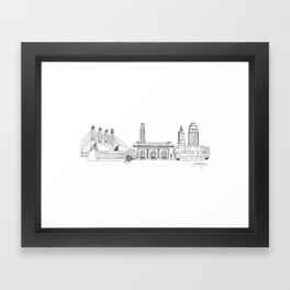 Kansas City Skyline Illustration Black Line Art Framed Art Print