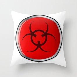 Red Bio Hazard Emergency Button Throw Pillow
