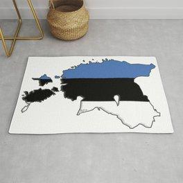 Estonia Map with Estonian Flag Rug