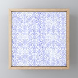 Periwinkle Damask Framed Mini Art Print