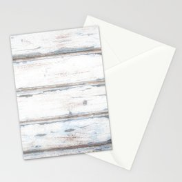 Old Painted Planks In Fog, Wood Texture Decor Stationery Cards