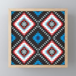 Colorful patchwork mosaic oriental kilim rug with traditional folk geometric ornament. Tribal style Framed Mini Art Print