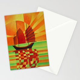 Junk on Sea of Green Cubist Abstract  Stationery Cards