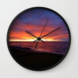 Beach Sunset on the Sea Wall Clock