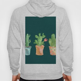 Three Green Cacti On Green Background Hoody