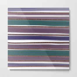 Teal and Plum Stripes Metal Print