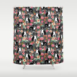 Boston Terrier floral dog breed pet art must have boston terriers gifts Shower Curtain