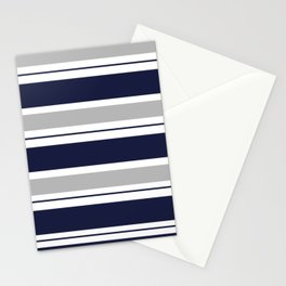 Navy Blue and Grey Stripe Stationery Cards