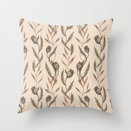 Poppy Pod Pattern Throw Pillow