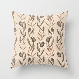 Poppy Pod Pattern Throw Pillow