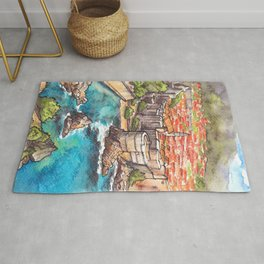 Dubrovnik Croatia ink & watercolor illustration Rug