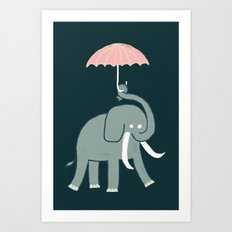 Elephant with umbrella Art Print
