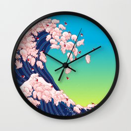 Christmas Baby Pigs The Great Wave in Blue Wall Clock