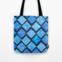 Blue Watercolor Tiles with White Texture Tote Bag