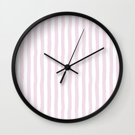 Baby pink white modern paint brushstrokes stripes Wall Clock