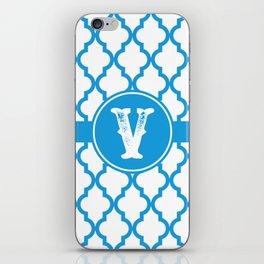 Blue Monogram: Letter V iPhone Skin